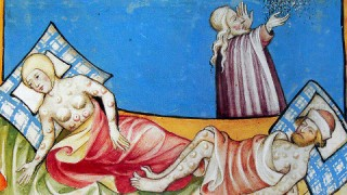 Painting of Black Death from 1411. Copyright has expired.